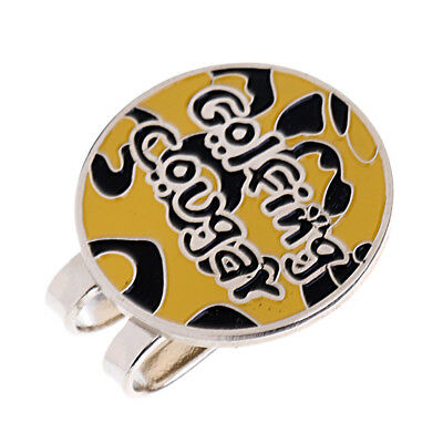 Alloy Hat Clip with Magnetic Golf Ball Marker Golfer Gift Yellow Black