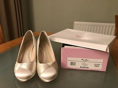 Rainbow Club Ivory Satin wedding shoes 5.5
