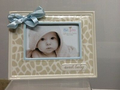 New Nat and Jules Sweet Baby Giraffe Frame with Blue Bow