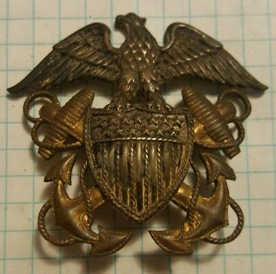 WW2 US Navy Sterling Silver Officer Hat Badge Vanguard 24k GP Large