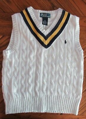 Ralph Lauren Polo White Sweater Vest Boys Size 6