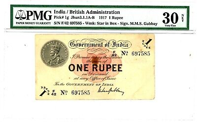 India ... P-1g ... 1 Rupees ... ND(1917) ... *VF+* ... PMG 30 (VF).