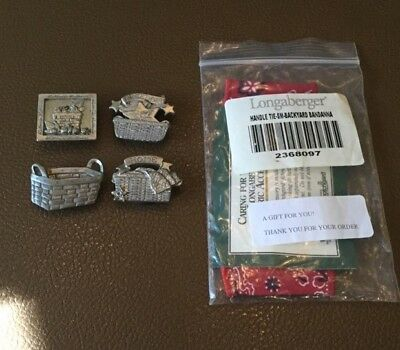 Set Of 4 Pewter Magnets And Small Handle Tie Backyard Bandanna, Longaberger