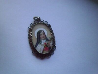 """Antique """"hand painted"""" Miniature  Pendant  St Therese of Lisieux  set in Filigre"""