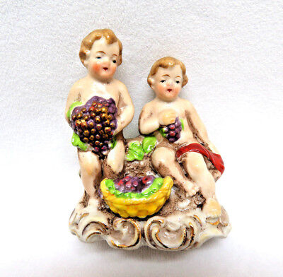 "Vintage Miniature German Porcelain ""Cherubs w/ Grapes"" Figurine"