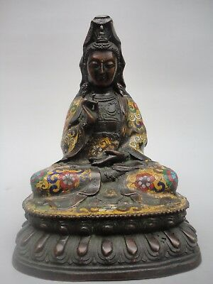 H9'' Collected Old China Bronze Cloisonne Avalokitesvara Statue Decoration