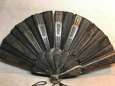 Vintage Antique Carved Wood Hand Fan Victorian Costume Accessory