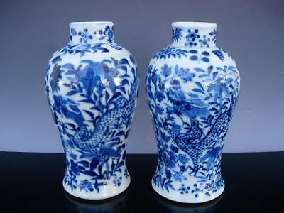 Two Small Antique Chinese Blue And White Porcelain Dragon Vases, Qianlong Marks