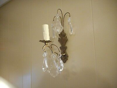 2 Vintage brass and crystal electric wall sconces pair