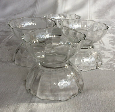 Arcoroc ARC France Clear Glass Bowls Dessert Berry Scalloped Rim Optic Design