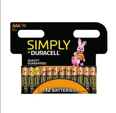 Duracell Simply 1.5V ALKALINE Quality Guaranteed AAA Batteries - Pack of 12