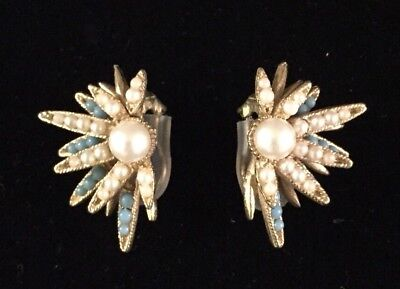 BSK VINTAGE CLIP EARRINGS Faux Pearls And Turquoise Beads Gold Tone Floral Burst