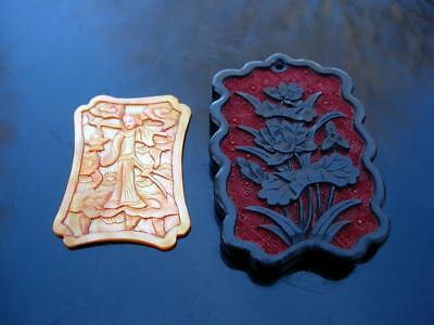 Two Antique Chinese Pendants, Carved Cinnabar And Mother Of Pearl