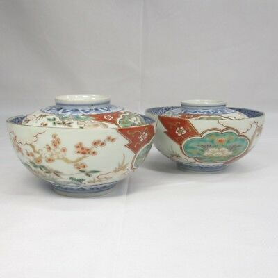 E555: Japanese OLD IMARI porcelain pair of covered bowl with great painting.