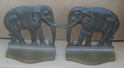 Elephant Metal Pair of Bookends Brass Bronze Finish Book Ends Vintage
