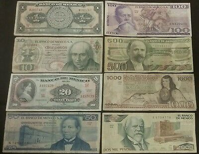 1959-1989 8 MEXICO Old Currency Lot 2000 1000 500 100 50 20 10 1 Pesos Banknotes