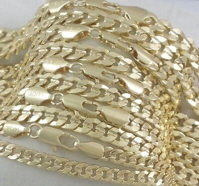 Real 14k Gold Filled Old School Hammered Cuban Curb Link Chain Necklace Stamped