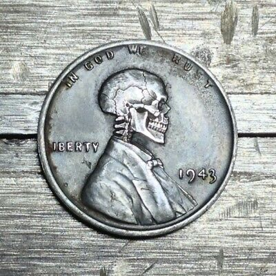#158 Blackened WWII Steel Penny Hobo Nickel Skull By JAM RM 1528