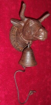 Vintage Cast Iron Bull Head Door Bell Knocker