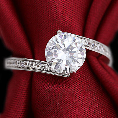 18K White Gold Gf 2Ct Infinity Solitaire Engagement Wedding Crystal Ring Gift