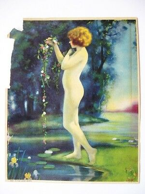 BERTRAM BASABE Antique Vintage Original Print Art Deco Era Nude Woman and Flower