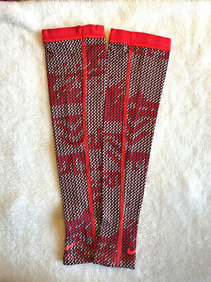 NIKE PRO Womens Hyperwarm Arm Sleeves Running Printed Action Red Thumb Open XS/S