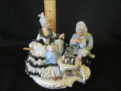 Dresden Porcelain Lace Victorian Man & Woman Playing Chess Figure - N Crown Mark