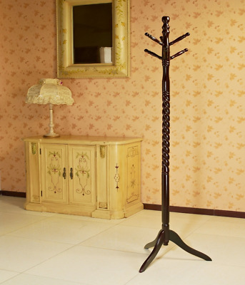 Vintage Wood Coat Rack Free Standing Floor Stand Hall Tree Holder Wooden Hat