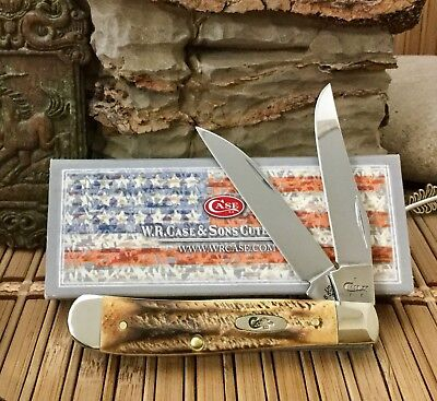 Case XX Stunning Genuine 6.5 BONE STAG Wharncliff Mini Trapper Pocket Knife