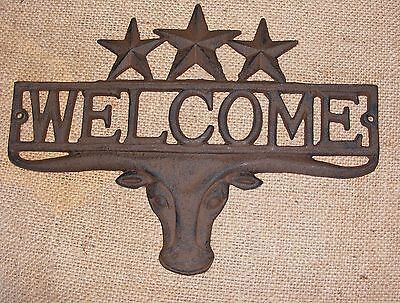 WELCOME STEER Cast Iron Star Plaque Wall Sign Star Country Rustic Western  #403