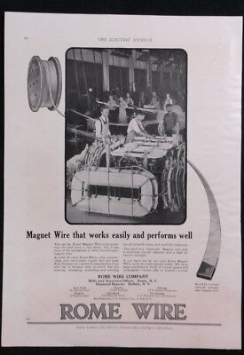 Vintage Ad 1920's ROME WIRE MAGNET WIRE W/ GREAT MANUFACTURING PICTURE  #5