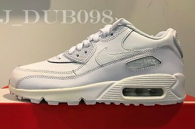 Nike Air Max 90 Grade School New Size 5.5 Gs 307793-167 Youth White Wolf Grey