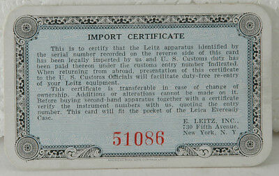 Leica Import Certificate prepared by Leitz New York for US Customs entry