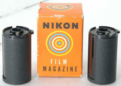 two all metal Nikon reloadable 35mm Film Magazines (Cassettes), new