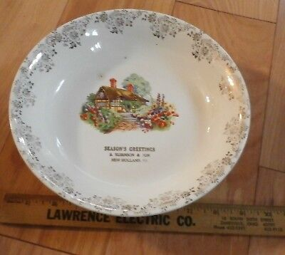 Edwin Knowles Bowl Advertising Season Greetings S Rubinson & Son New Holland Pa