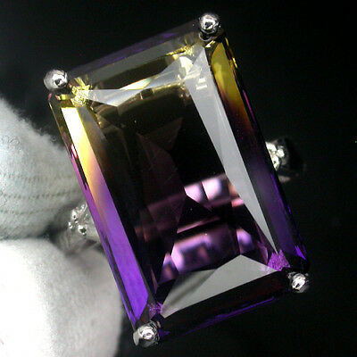 Amazing Aaa Multi Color Ametrine Main Stone 24.80 Ct.gem 925 Silver Ring Sz 6.25