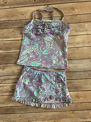 LANDS END Kids Girl 2 Piece Purple Tankini Sz 8