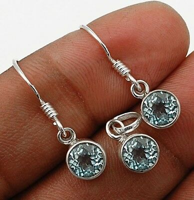 "Aquamarine 925 Solid Sterling Silver Earrings Pendant Set Jewelry  1""Long"