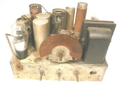 vintage* PHILCO MODEL 66 RADIO TOMBSTONE: Untested CHASSIS w/ 5 TUBES & GRAPHIC