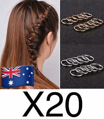 20pcs Gold Hip-hop Braid Ring Hair Clip Pin Accessories For Women Fashion Girls