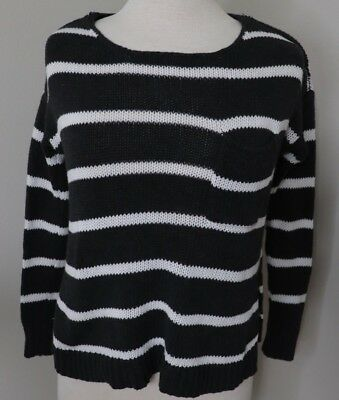 American Eagle Womens Sweater Size X Small Black White Striped Long