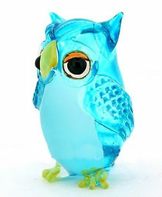Lampwork COLLECTIBLE MINIATURE HAND BLOWN Art GLASS Single Owl Light Blue... New