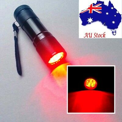 9LED Red Light Waterproof Flashlight Torch Astronomy Night Vision Camping AU