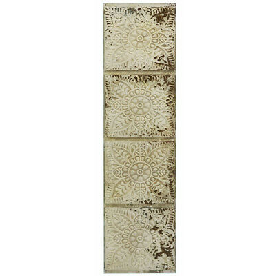 Pressed Tin Metal Wall Art Abstract Modern Hanging Sculpture BIG Shabby 130cm
