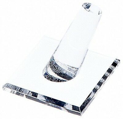 """Plymor Brand Clear Acrylic Ring Finger, Single on Square base, 2"""" W x 2"""" ... New"""