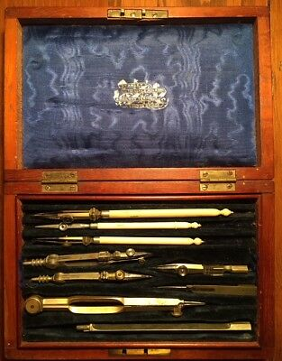 Antique Victorian English Brass Drafting Engineering Stanley Architect Set