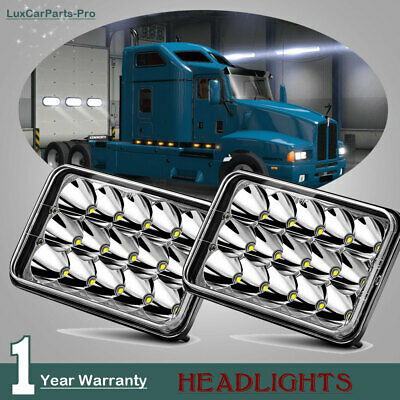 "2PCS 4X6"" Inch 15 LED Headlights LED Light Bulb Crystal Clear Sealed HeadLamp H4"