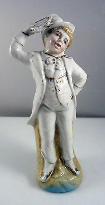 Antique 19th Century Porcelain Figure of Tambourine Player  Musician in Top Hat