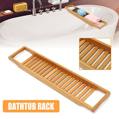 Wooden Bamboo Luxury Bath Bathtub Storage Rack Caddy Shelf Tidy Tub Tray Holder