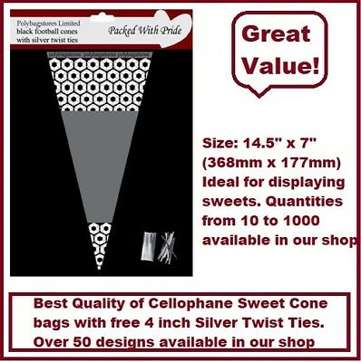 50 - BLACK Football Cone Cello Cellophane Sweet Party Bags With Silver Ties